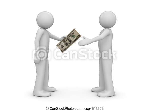 Clip Art of Man gives $100 note to another - Finance collection ...