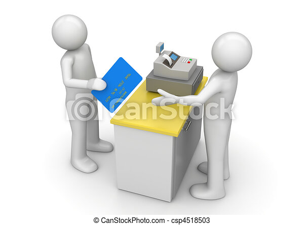 Paying by credit card on cash desk - Finance collection - csp4518503