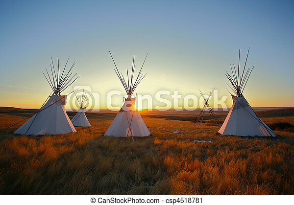 Stock Photography of Tipis at sunrise on the prairie - Group of ...