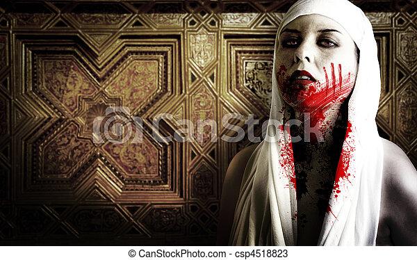 femme,  vampire, à, sanguine, taches, gothique,  image,  Halloween - csp4518823