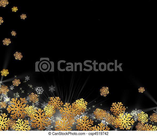 Christmas background - gold snowflakes on a black - csp4519742