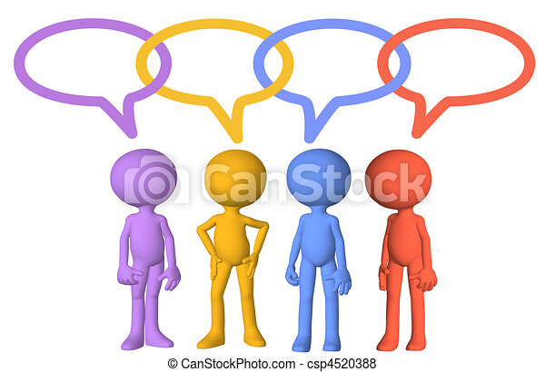 Social media characters talk speech bubble links - csp4520388