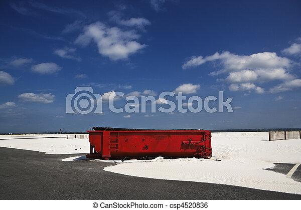 Red Dumpster & Sands, Gulf Coast - csp4520836