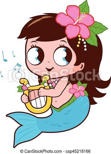 Clip Art Vecteur de mignon, elle, lyre, musique, jouer, sirène ...