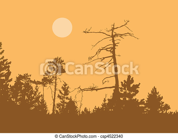 vector silhouette dry tree in wild wood - csp4522340