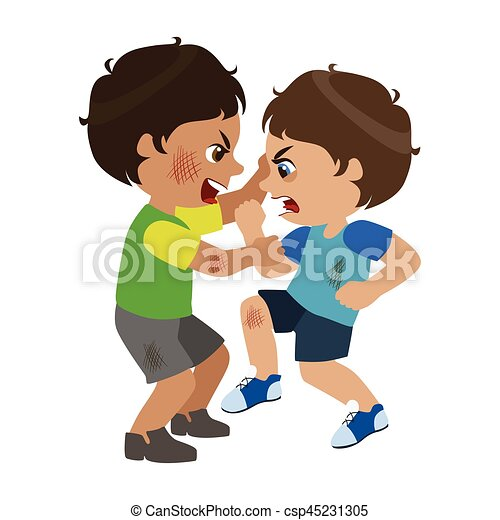 Vector Clipart of Two Boys Fighting And Scratching, Part ...