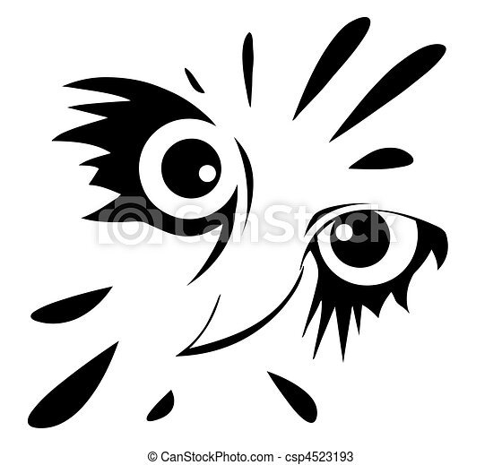 drawing of the owl on white background - csp4523193
