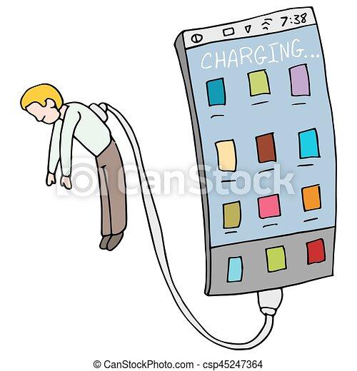 Phone Draining Energy From Man - csp45247364