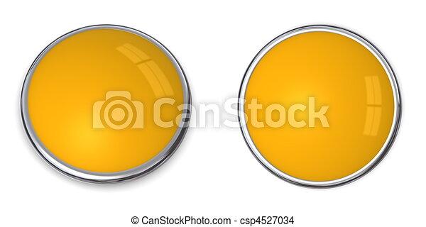 3D Button Solid Orange/Ochre - csp4527034