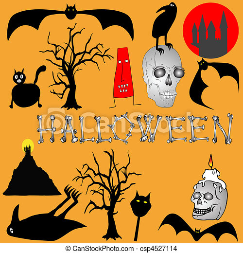 Halloween background - vector - csp4527114