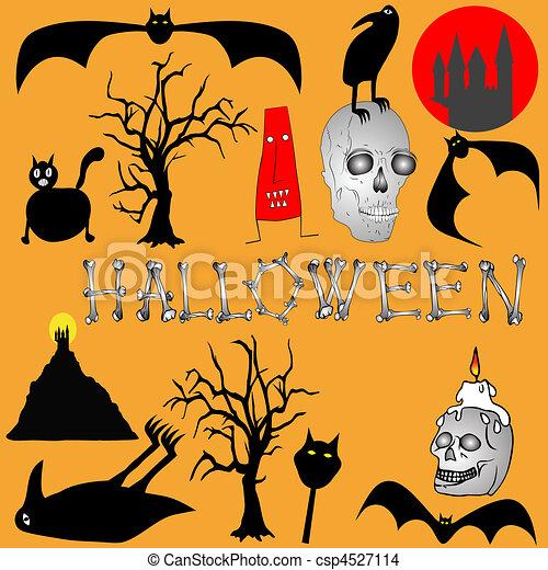 Halloween background - vector - csp4527114