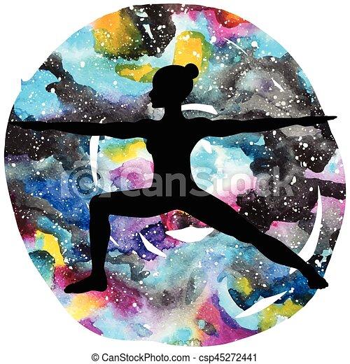 Women silhouette. Warrior 2 yoga pose. Virabhadrasana 2 - csp45272441