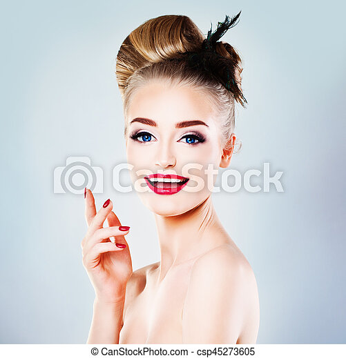 Perfect Woman Fashion Model with Blonde Hairstyle Laughing