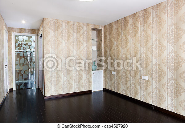 Empty bedroom with droplamp and cabinet after renovation - csp4527920