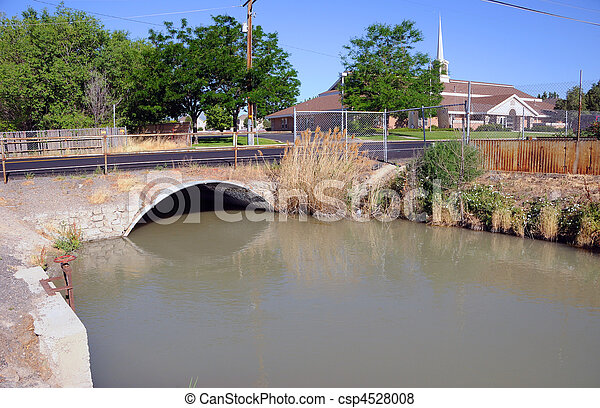 Irrigation Canal of the Jordan River in Salt Lake Valley, Utah - csp4528008