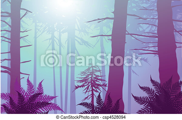 vector enchanted forest in cool colors - csp4528094