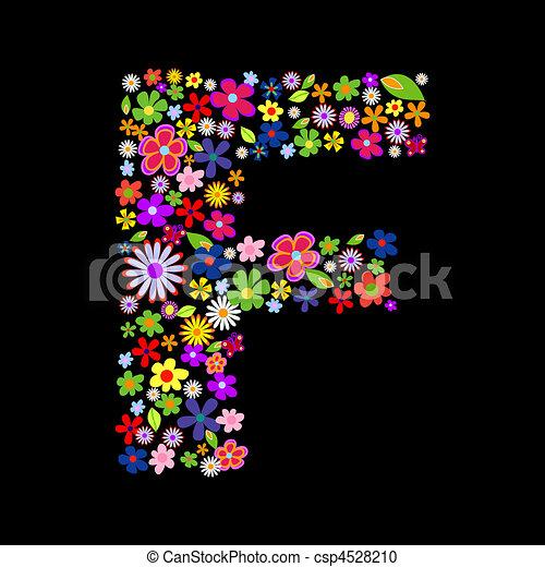 Vector flower font - csp4528210