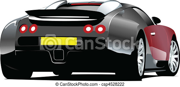 Sport  car on the road. Rear view. - csp4528222