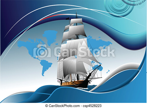 Cover for brochure with old sailing vessel - csp4528223