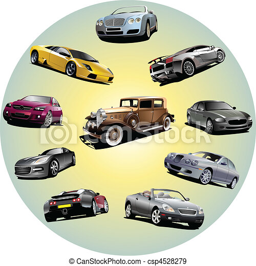 Ten cars in circle. Vector illustration - csp4528279