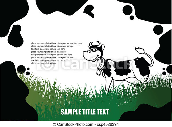 Country landscape with cow skin im - csp4528394