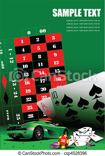 Casino elements on green table. Ve - csp4528396