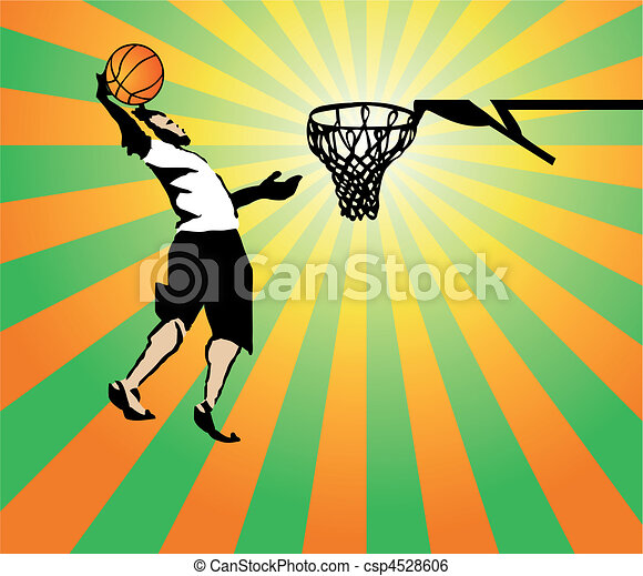 Basketball sportsman in the game win. Vector - csp4528606