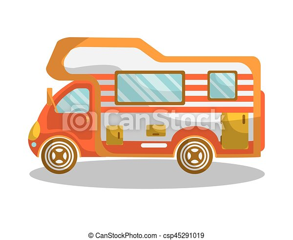 Modern Furniture Drawings vector clip art of camping bus equiped with modern furniture and