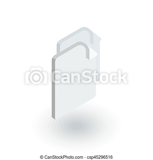 Vector Clip Art Of Paper Document, File Copy Isometric Flat Icon