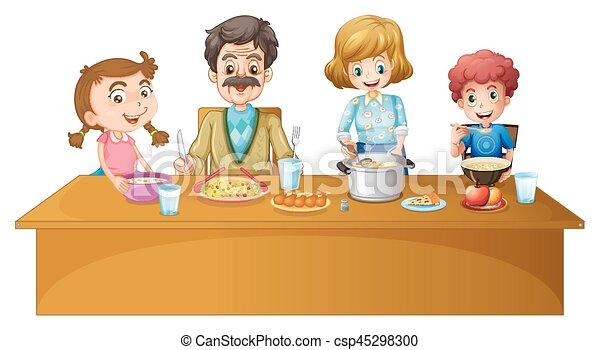 Esstisch clipart  Clipart Vektor von essen, familie, tisch - Family, an, der ...