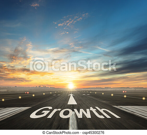 Growth creative concept with airport runway - csp45300276