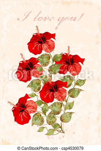 vintage greeting card with hibiscuses - csp4530079