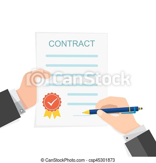 Vectors Illustration Of Agreement Concept  Hand Signing Of