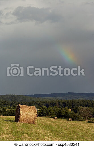 Shot of the dark sky with rainbow - after rain