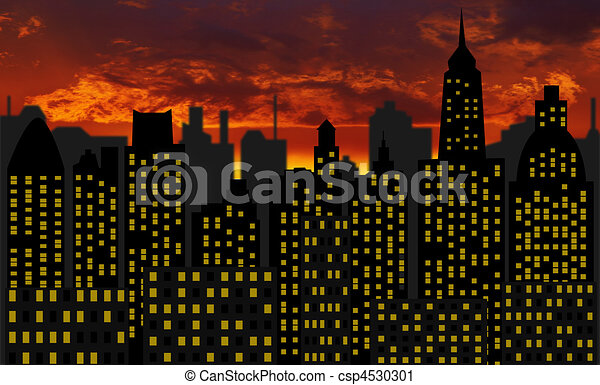 skyscrapers - panorama of modern skyscraper town - csp4530301