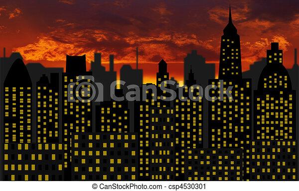 skyscrapers - panorama of modern skyscraper town - csp4530301