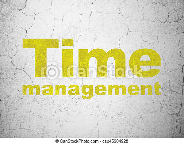 Time concept: Yellow Time Management on textured concrete wall background