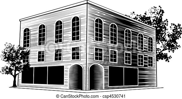 Art Building Drawings Vector Woodcut Building