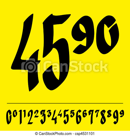 Handwritten price tag figures - csp4531101