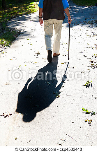 Elderly man with cane. Senior Disabled - csp4532448