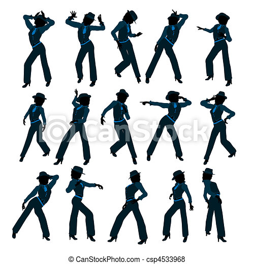 African American Female Jazz Dancer Silhouette - csp4533968