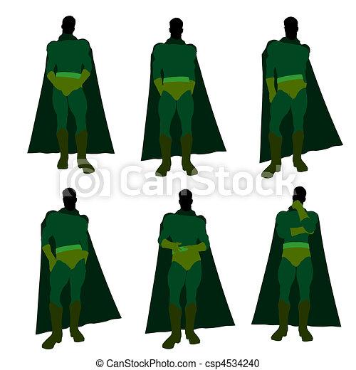Male Super Hero Illustration Silhouette - csp4534240