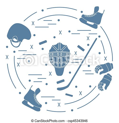 Vector illustration of various subjects for hockey. Including icons of helmet, gloves, skates, goalkeeper mask, hockey stick, puck. - csp45343946