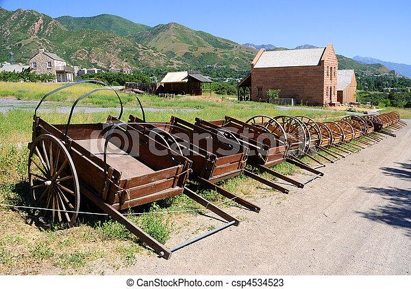 Display of Mormon Settler Hand Carts at Heritage Park in Utah - csp4534523