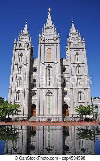 LDS Mormon Temple In Salt Lake City - csp4534598