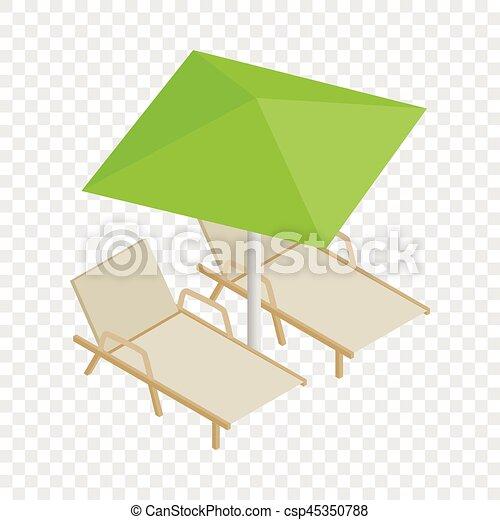 Sonnenschirm grafik  Vektor von Isometrisch, Deckchair, Sonnenschirm, Ikone - Deckchair ...