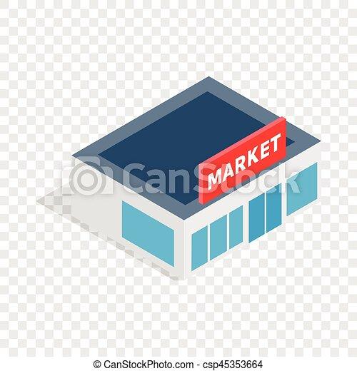 Supermarkt gebäude clipart  Clip Art Vektor von gebäude, isometrisch, supermarkt, ikone ...