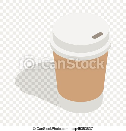 Vectors Of Paper Cup Of Coffee Isometric Icon 3D On A Transparent