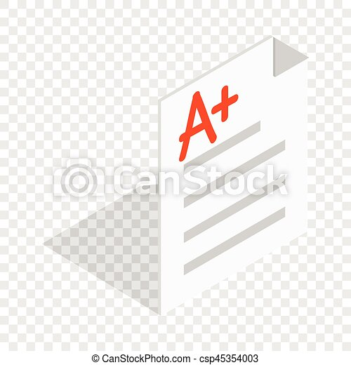Vector Clipart Of Perfect Grade On A Paper Test Isometric Icon 3D