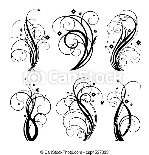 black swirl design - csp4537333